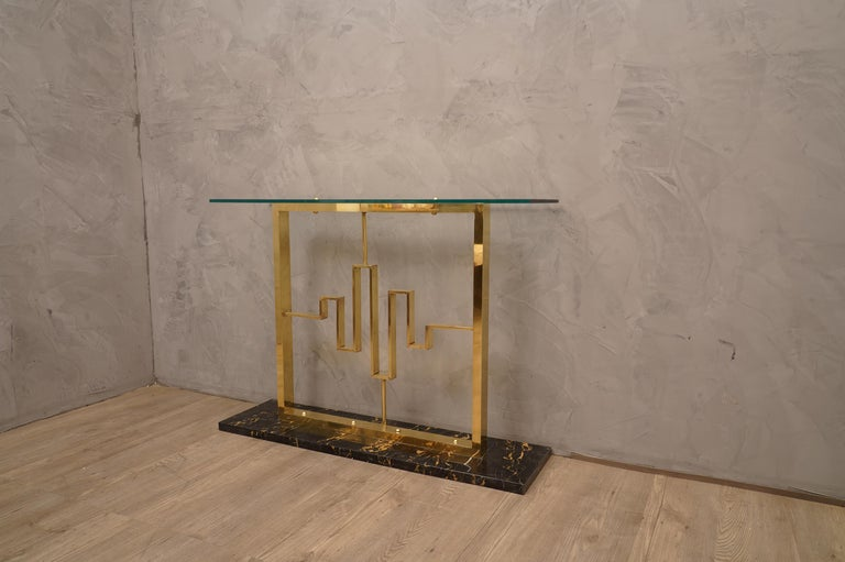 Late 20th Century Midcentury Marble Brass and Glass Console Table, 1980 For Sale