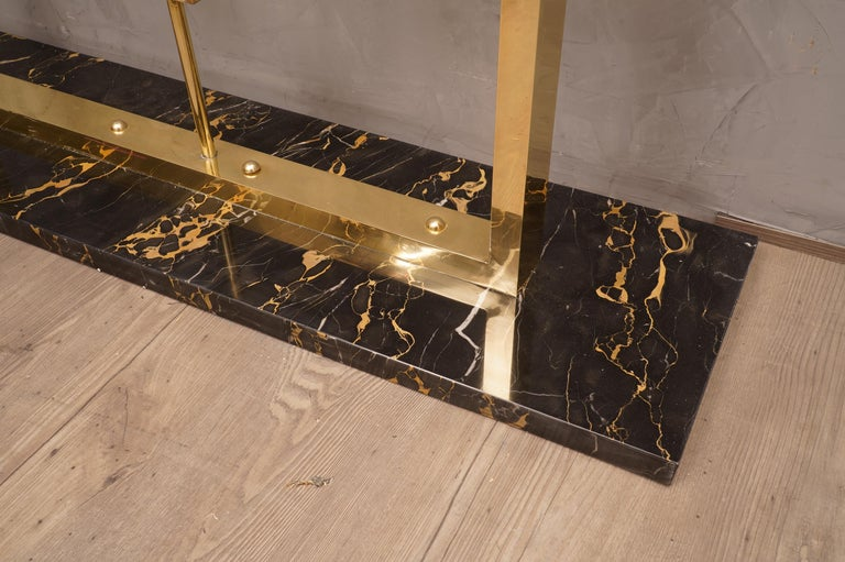 Midcentury Marble Brass and Glass Console Table, 1980 For Sale 1
