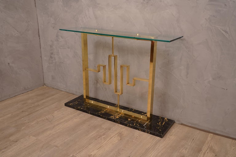 Midcentury Marble Brass and Glass Console Table, 1980 For Sale 2