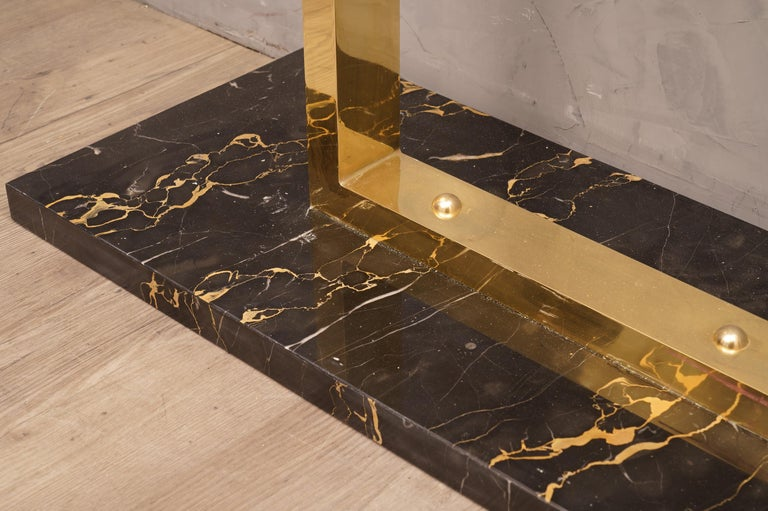 Midcentury Marble Brass and Glass Console Table, 1980 For Sale 3