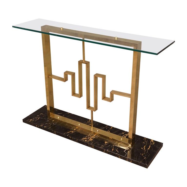 Midcentury Marble Brass and Glass Console Table, 1980 For Sale