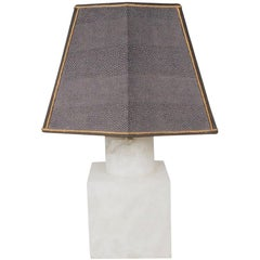 Midcentury Marble Table Lamp with Custom-Made Shark Skin Shade