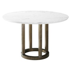 Midcentury Marble-Top Dining Table
