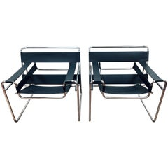 Midcentury Marcel Breuer Style Black and Chrome Wassily Chairs, Pair