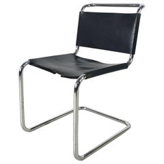 Midcentury Marcel Breuer Style Black Leather and Chrome Cantilever Dining Chair