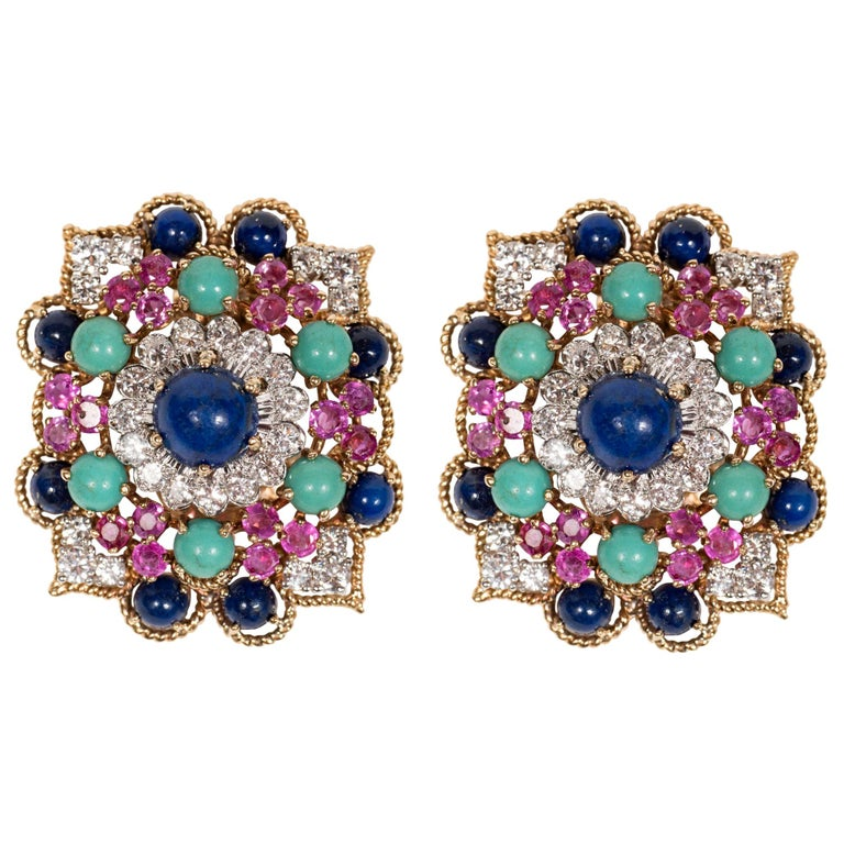 Midcentury Marianne Ostier Colored Stone Diamond Gold Platinum Ear Clips For Sale