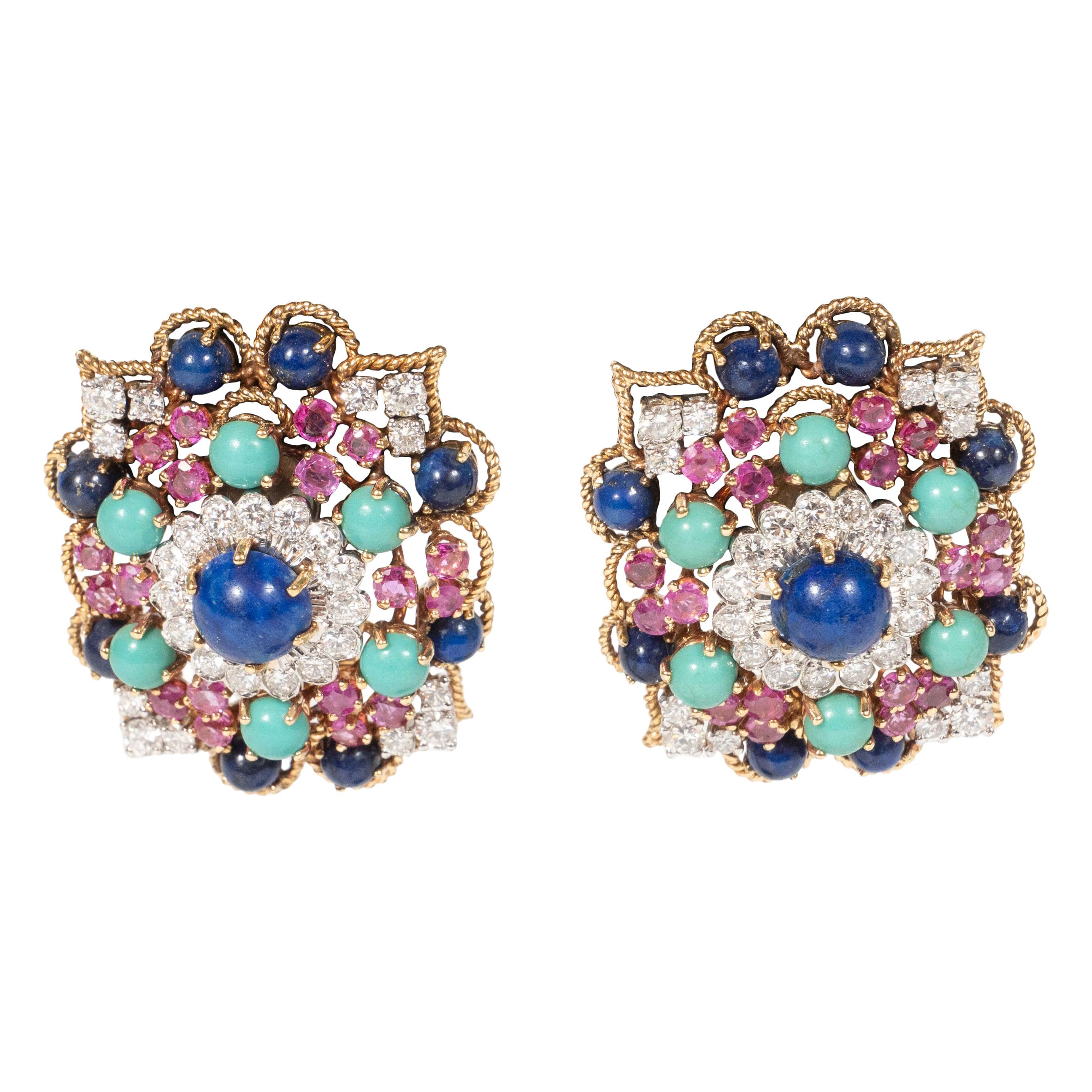 Midcentury Marianne Ostier Colored Stone Diamond Gold Platinum Earrings