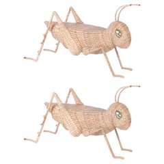 Midcentury Mario Torres Wicker Cricket Table, Pair Available