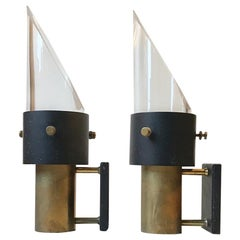 Midcentury Maritime Crystal and Brass Wall Sconces 'Saga' from Lyfa & Orrefors