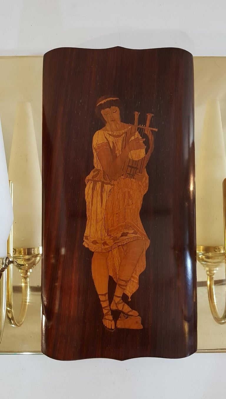 Art Deco Midcentury Marquetry Sconces by Andrea Gusmai, Italy