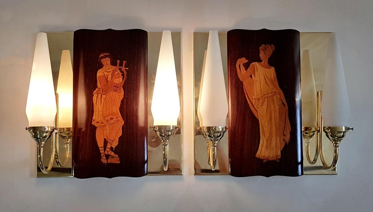Midcentury Marquetry Sconces by Andrea Gusmai, Italy In Excellent Condition In Albano Laziale, Rome/Lazio