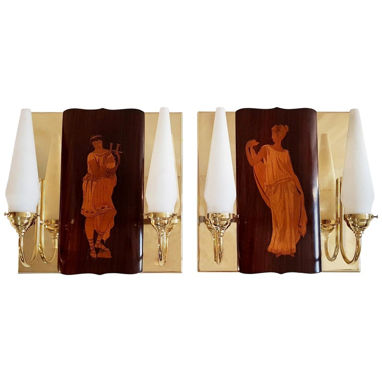 Midcentury Marquetry Sconces by Andrea Gusmai, Italy
