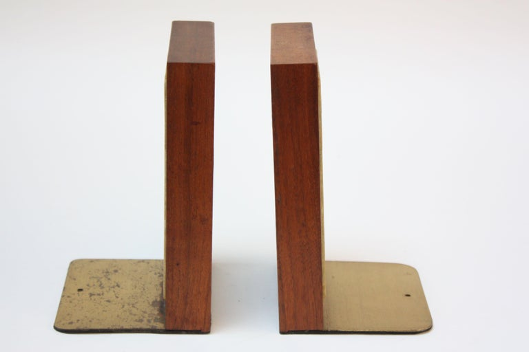 Mid-Century Modern Midcentury Martz Ceramic and Walnut Bookends For Sale