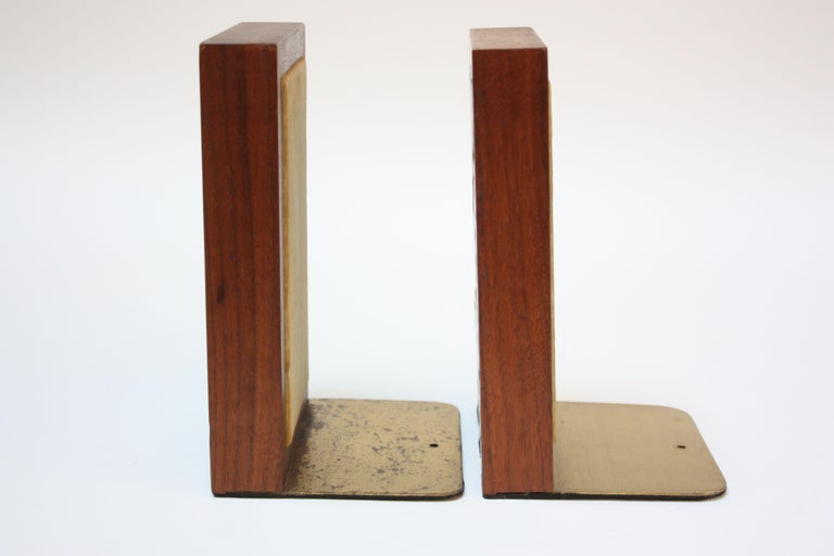 American Midcentury Martz Ceramic and Walnut Bookends For Sale