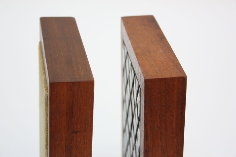 Midcentury Martz Ceramic and Walnut Bookends For Sale 1