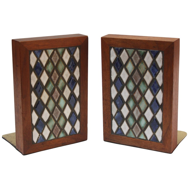 Midcentury Martz Ceramic and Walnut Bookends For Sale