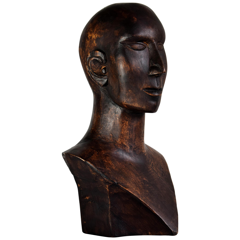 Mid-century Masculine Wooden Sculpture Testa