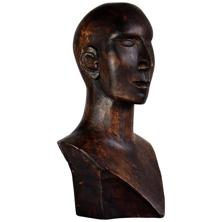 Mid-century Masculine Wooden Sculpture Testa For Sale
