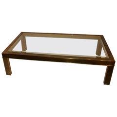 Midcentury Mastercraft Brass Coffee Table with Original Beveled Glass