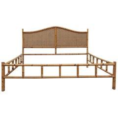 Midcentury Matrimonial Bed in Bamboo and Vienna Straw Italian Design 1950s