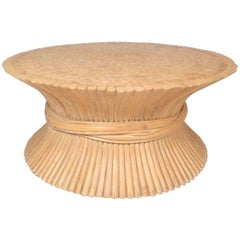Midcentury McGuire Bamboo Wheat Sheaf Coffee Table