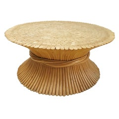 McGUIRE MIDCENTURY Bamboo Wheat Sheaf Coffee Table - Hollywood Regency Style 70s