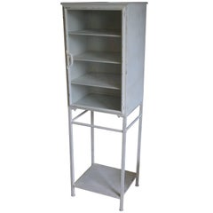 Midcentury Medical Apothecary Cabinet of Painted White Steel with Glass Door