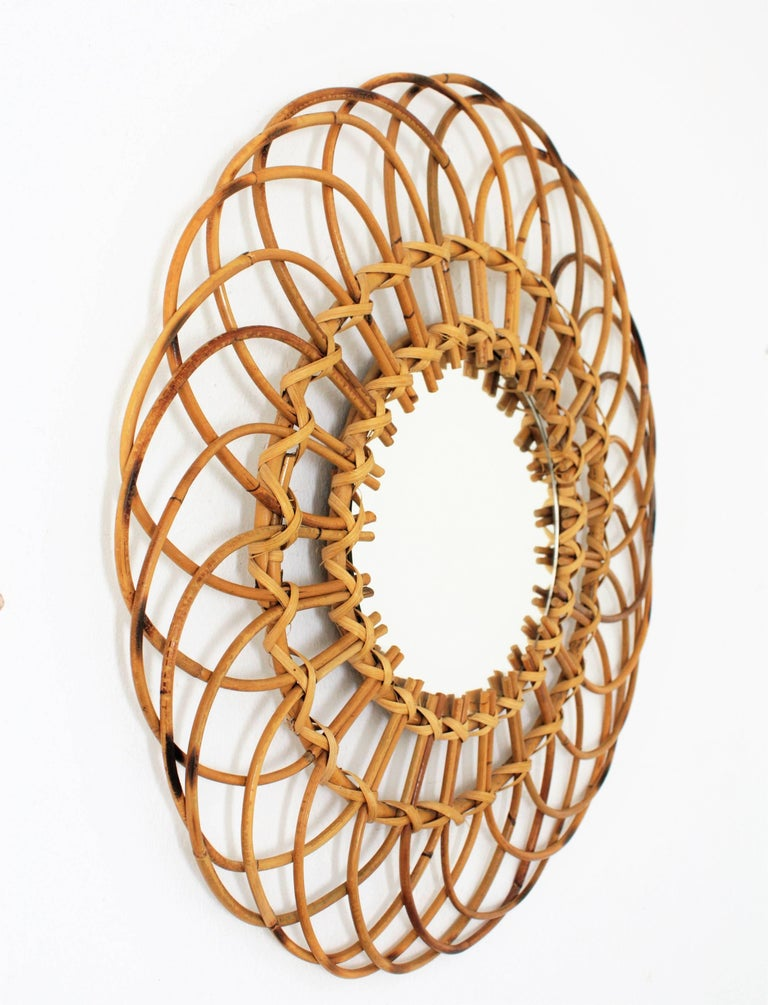 Mid-Century Modern Midcentury Mediterranean Rattan and Wicker Flower Shaped Sunburst Mirror For Sale