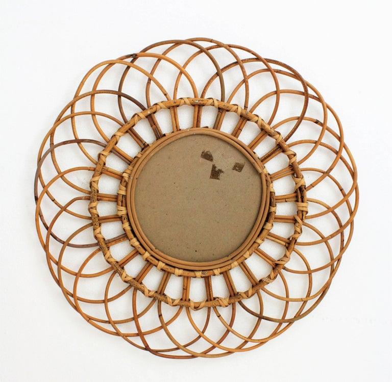 Midcentury Mediterranean Rattan and Wicker Flower Shaped Sunburst Mirror For Sale 2