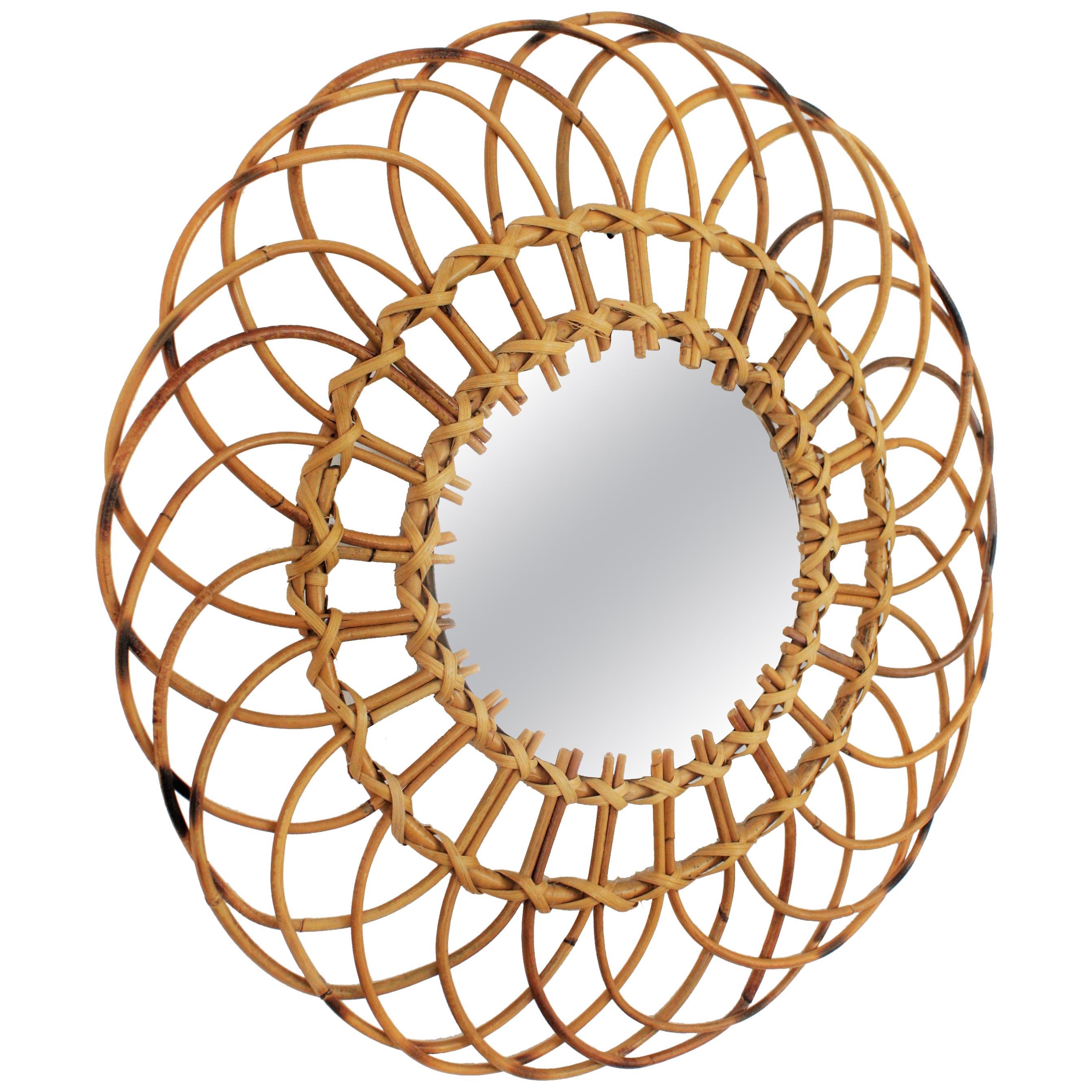 Midcentury Mediterranean Rattan and Wicker Flower Shaped Sunburst Mirror