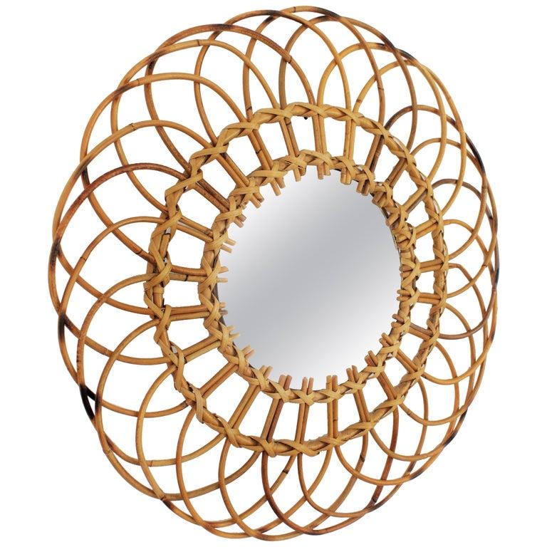 Midcentury Mediterranean Rattan and Wicker Flower Shaped Sunburst Mirror For Sale