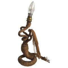 Midcentury Mermaid Rope Lamp Audoux Minet, circa 1960