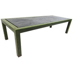 Midcentury Metal and Faux Stone Coffee Table