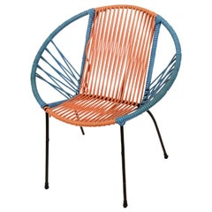 Midcentury Metal and Red and Blue Plastic Italian Chair in RIMA Style, 1950s