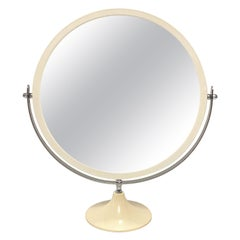 Midcentury Metal and White Plastic Round Italian Table Mirror, Italy, 1980s