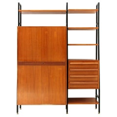 Midcentury Metal and Wood Wall Unit, 1950s
