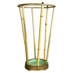 Midcentury Metal Brass and Bamboo Auböck style Umbrella Stand, Germany, 1950s