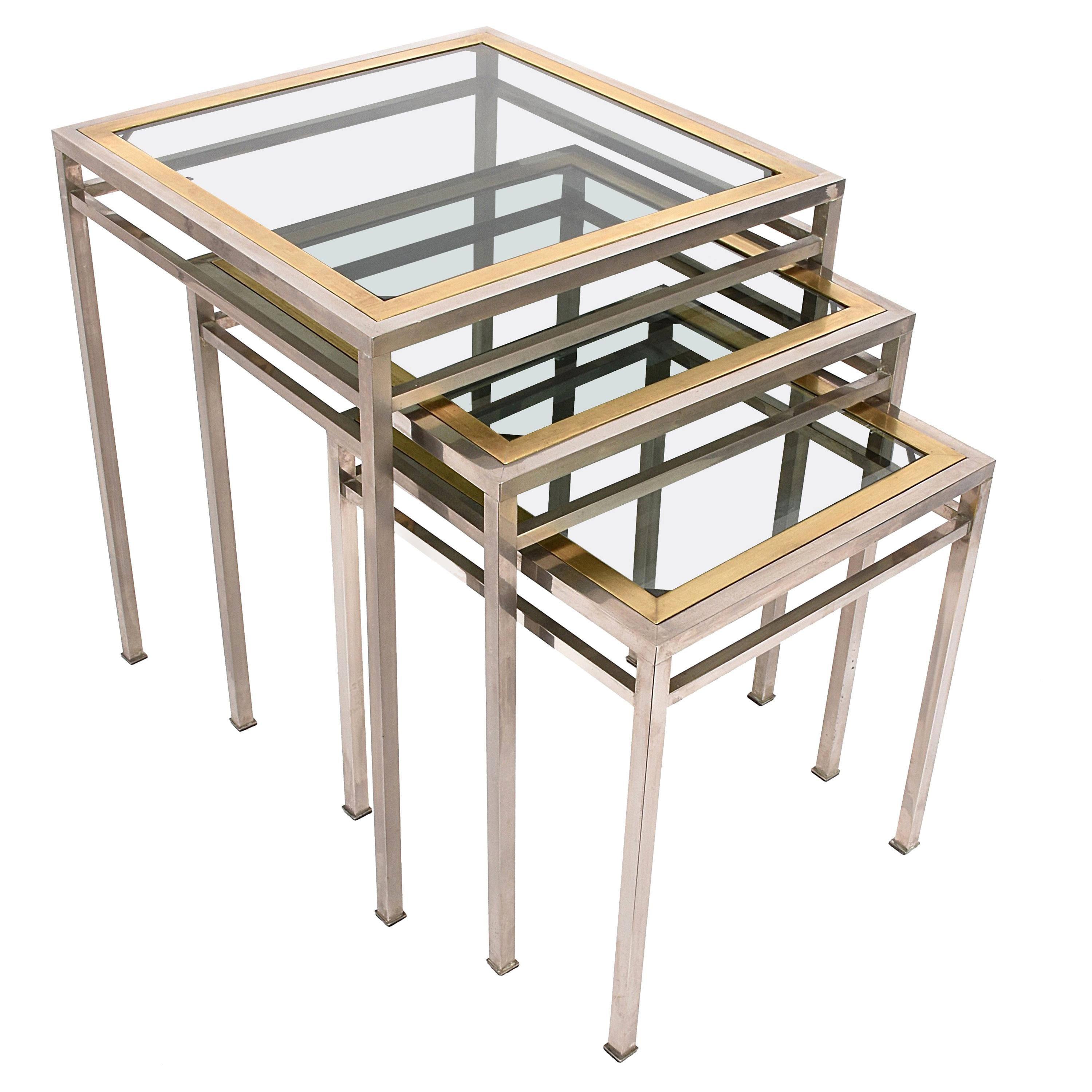 Midcentury Metal, Brass and Smoked Glass Extractable Coffee Tables, Italy 1970s