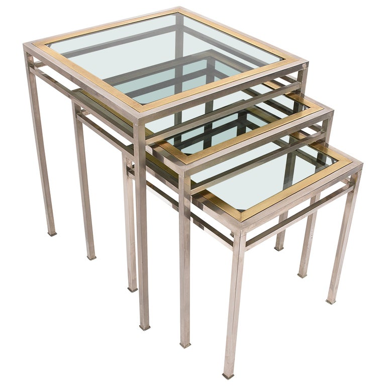 Midcentury Metal, Brass and Smoked Glass Extractable Coffee Tables, Italy, 1970s For Sale