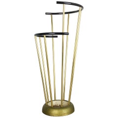 Midcentury Metal Brass Hollywood Regency Umbrella Stand by GECO, Germany, 1950s