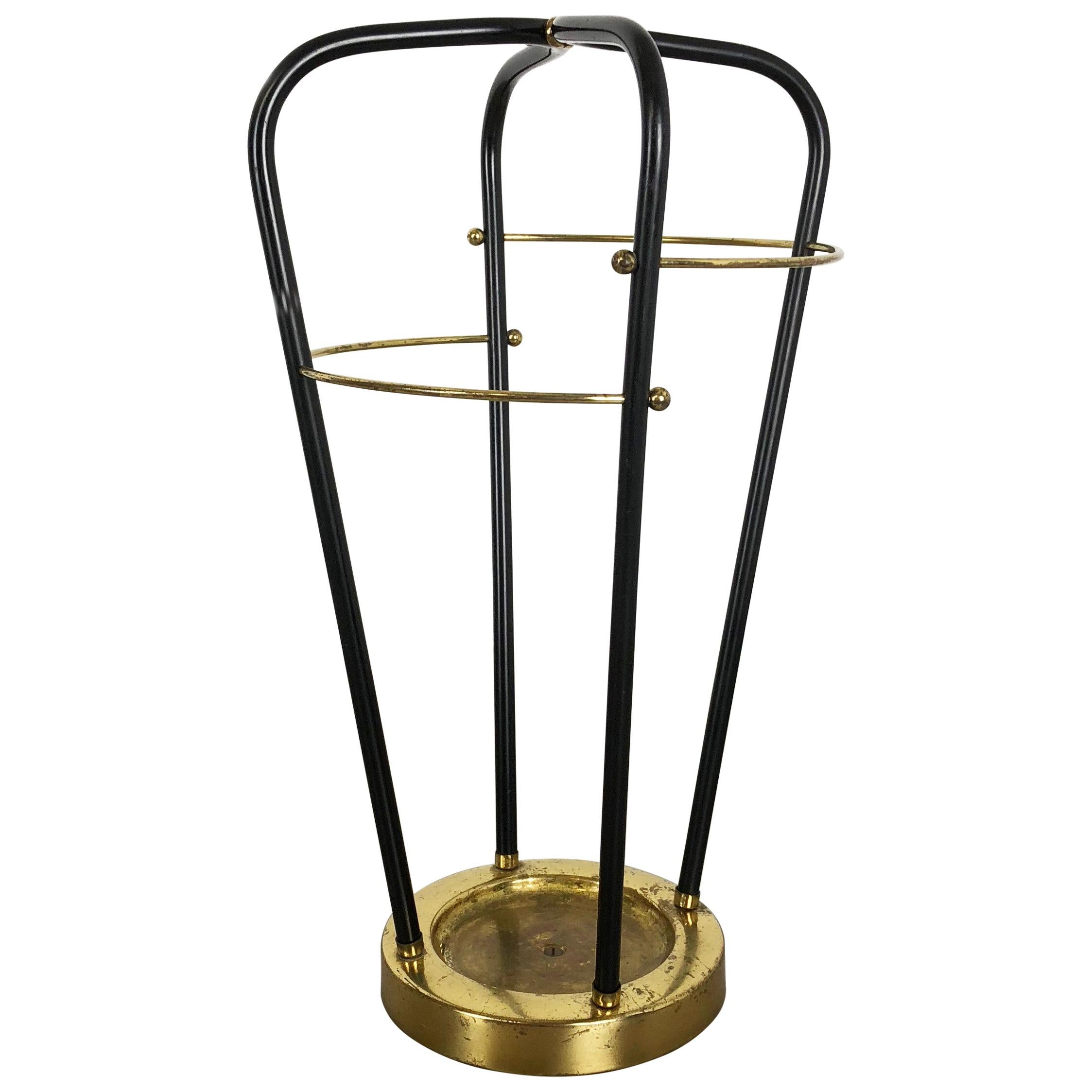Midcentury Metal Brass Hollywood Regency Umbrella Stand, Germany, 1950s