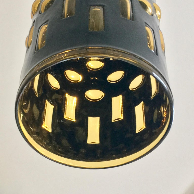 Midcentury Metal Pendant Light in Blue/Black with Amber Glass Lining, Euopean 3