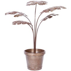 Midcentury Metal Potted Plant Sculpture