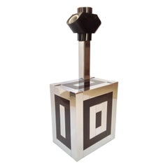 Midcentury Metal and Enamel Table Lamp by Willy Rizzo for Lumica, 1970s