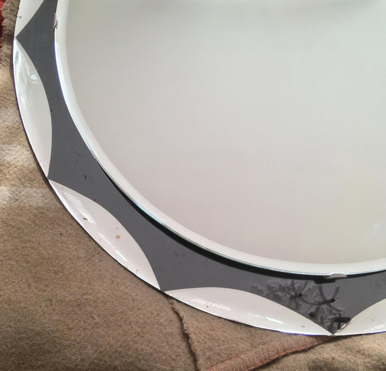 Midcentury Metalvetro Galvorame Mirror with Scalloped Black Glass Detail, Italy For Sale 5
