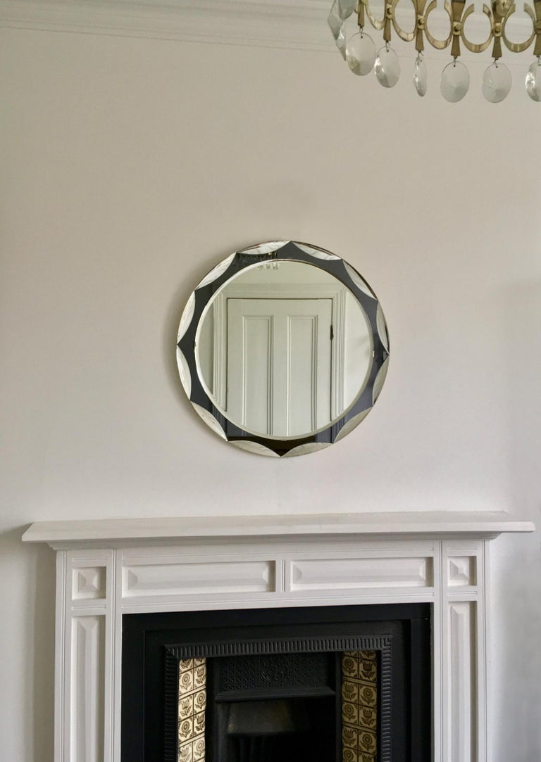 Midcentury Metalvetro Galvorame Mirror with Scalloped Black Glass Detail, Italy For Sale 6
