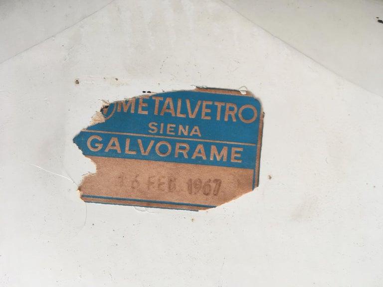 Midcentury Metalvetro Galvorame Mirror with Scalloped Black Glass Detail, Italy For Sale 1