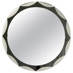 Midcentury Metalvetro Galvorame Mirror with Scalloped Black Glass Detail, Italy