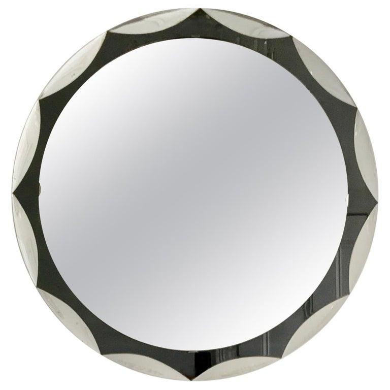 Midcentury Metalvetro Galvorame Mirror with Scalloped Black Glass Detail, Italy For Sale