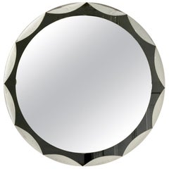 Midcentury Metalvetro Galvorame Mirror with Scalloped Black Glass Detail, Italy
